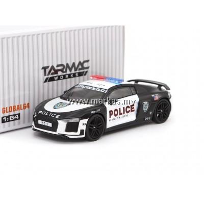 """TARMAC WORKS 1/64 GLOBAL64 AUDI R8 V10 PLUS POLICE """"PROTECT & SERVE"""""""