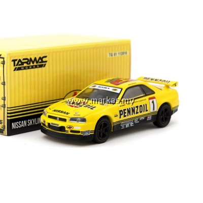 TARMAC WORKS x GREENLIGHT COLLECTIBLES 1/64 NISSAN GT-R R34 PENZOIL SPECIAL EDITION