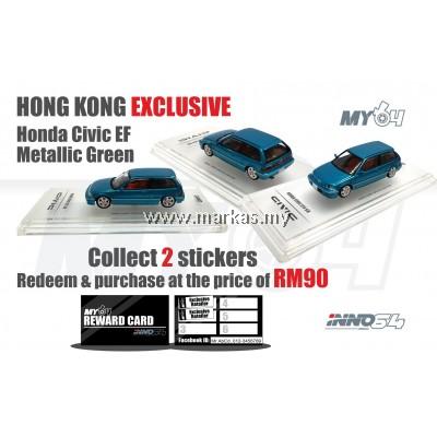 INNO MODELS INNO64 1/64 HONDA CIVIC EF METALLIC GREEN - HONG KONG EXCLUSIVE