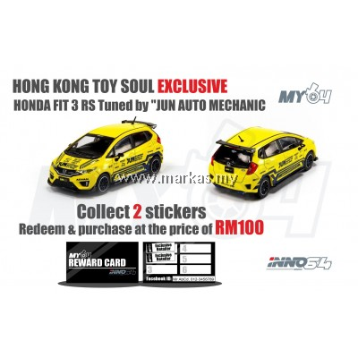 INNO MODELS INNO64 1/64 HONDA FIT 3 RS TUNED BY JUN AUTO MECHANIC HONG KONG TOY SOUL EXCLUSIVE *REDEEM PURCHASE WITH 2 STICKERS ONLY