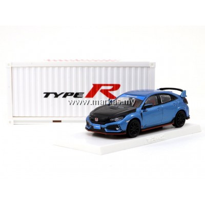 TARMAC WORKS 1/64 HONDA CIVIC TYPE R FK8 BLUE WITH BLACK BONNET TUNED BY SPOON **WITH CONTAINER DISLAY CASE