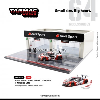 (PO) TARMAC WORKS 1/64 ACCESSORIES RACING PITS STOP AUDI SPORT WITH EXCLUSIVE 1/64 AUDI R8 BLANCPAIN GT SERIES ASIA 2018