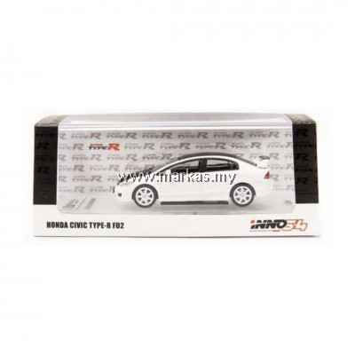 INNO MODELS INNO64 1/64 HONDA CIVIC TYPE-R FD2 WHITE W/ CARBON BONNET AND ROOF TOP - HONG KONG SPECIAL EDITION *NO STICKER REQUIRED