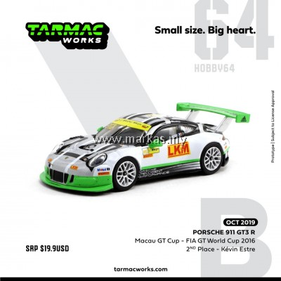 (PO) TARMAC WORKS 1/64 PORSCHE 911 GT3 R MACAU GT CUP - FIA GT WORLD CUP 2016 - 2ND PLACE KEVIN ESTRE