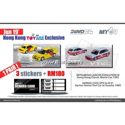 INNO MODELS INNO64 1/64 HK TOY SOUL EXCLUSIVE - HONDA CIVIC EF9 & MITSUBISHI LANCER EVOLUTION III  *3 STICKERS REQUIRED