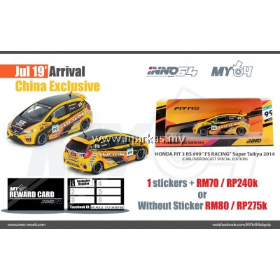 INNO MODELS INNO64 1/64 CHINA EXCLUSIVE - HONDA FIT 3 RS #99 J'S RACING SUPER TAIKYU 2014 * 1 STICKER REQUIRED
