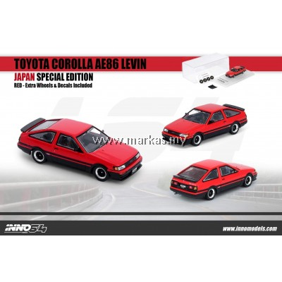 INNO MODELS INNO64 1/64 JAPAN EXCLUSIVE -TOYOTA COROLLA AE86 LEVIN RED WITH EXTRA WHEELS AND FRONT BONNET CARBON EFFECT DECALS *1 STICKER REQUIRED