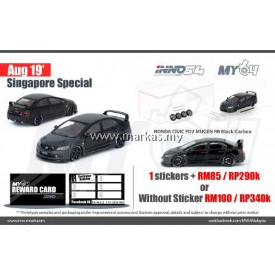 INNO MODELS INNO64 1/64 SINGAPORE EXCLUSIVE HONDA CIVIC FD2 MUGEN RR BLACK CARBON *1 STICKER REQUIRED