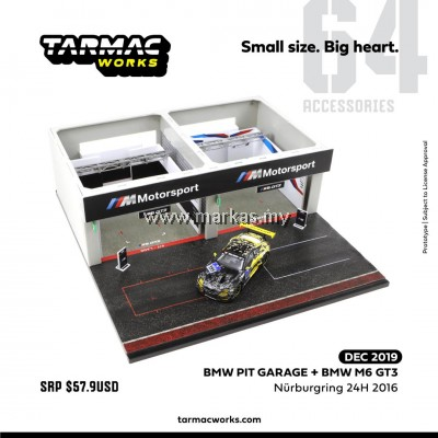 (PO) TARMAC WORKS 1/64 ACCESSORIES DIORAMA BMW PITBOX (INCLUDES EXCLUSIVE MODL BMW M6 GT3 NURBURGRING 24H 2016