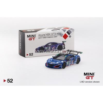 """MINI GT 1/64 #52 ACURA NSX GT3 #86 """"UNCLE SAM"""" 2017 IMSA WATKINS GLEN (LHD)"""