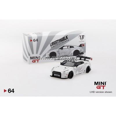 MINI GT 1/64 #64 LB WORKS NISSAN GT-R R35 TYPE 1 REAR WING VERS 1+ 2 SATIN WHITE (RHD)