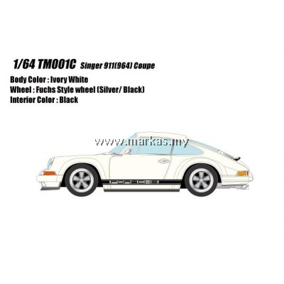 (PO) MAKE UP 1/64 TM001C PORSCHE SINGER 911 (964) IVORY WHITE