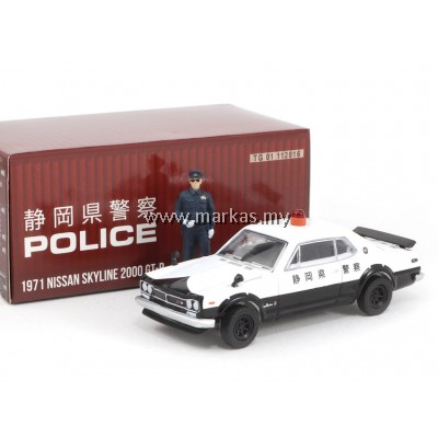 TARMAC WORKS x GREENLIGHT COLLECTIBLES 1/64 NISSAN SKYLINE 2000 GT-R JAPANESE POLICE 1971 (WITH POLICE FIGURE)