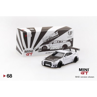 MINI GT 1/64 #68 LB WORKS NISSAN GT-R R35 TYPE 2 REAR WING VERS 3 WHITE (RHD)
