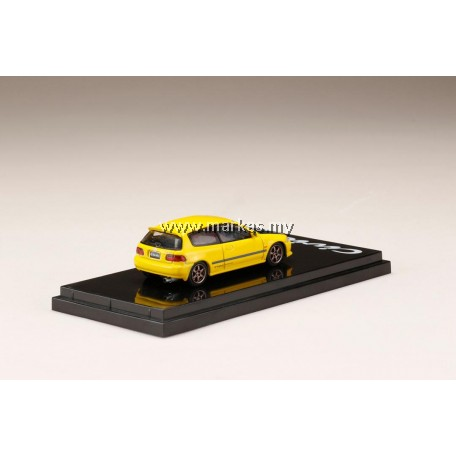 (PO) HOBBY JAPAN 1/64 HONDA CIVIC EG6 YELLOW CARBON BONNET